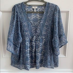Joie mixed print lace up blouse Sz XS